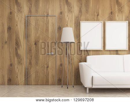 Furnished Interior With Wooden Wall