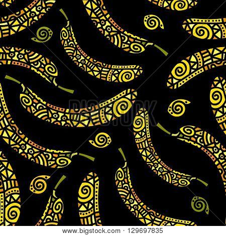 Etnic seamless pattern with stylized banana. Vector illustration