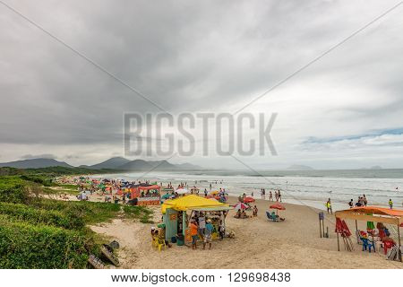 Barra Beach In Florianopolis Island In South Brazil.