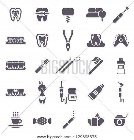 Set of Black Dental Icons Isolated on White. Vector Illustration for Dentistry and Orthodontics. Healthy Tooth, Transparent and Metallic Braces, Retainer, Bad Habits - Smoking, Tea and Coffee, Candy