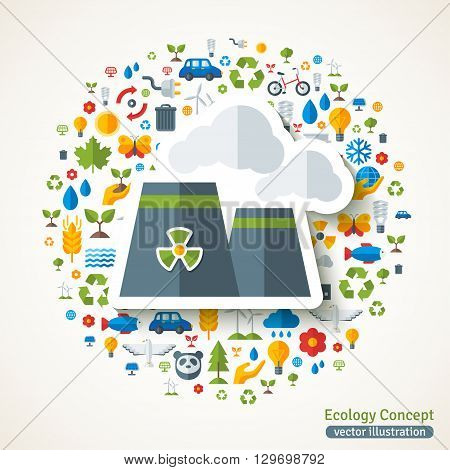 Nuclear power plant symbol flat sticker. Vector concept illustration with icons of ecology, environment, green energy and pollution. Save the planet. Eco Technology.
