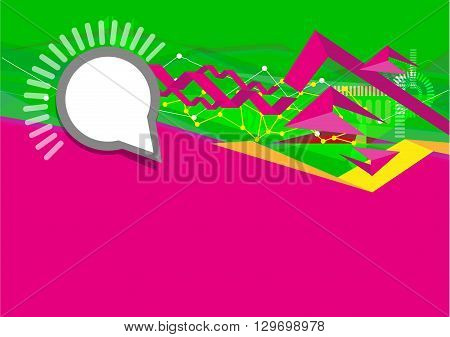 User Interface concept in Green and Fuchsia with Abstract Waves. Editable Clip Art.