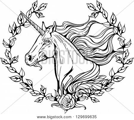 Portrait of unicorn in frame of flower branches.