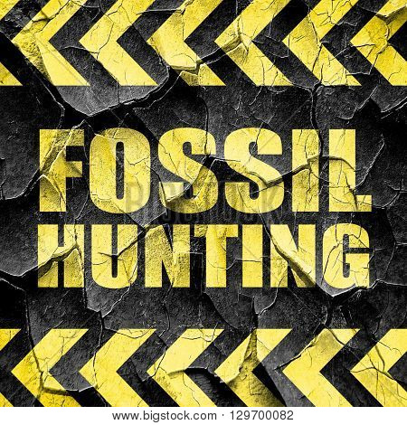fossil hunting, black and yellow rough hazard stripes