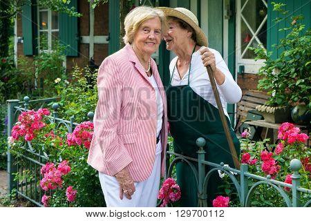 Two Senior Women Telling Secrets In Home Garden