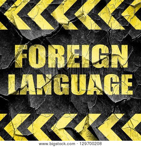 foreign language, black and yellow rough hazard stripes