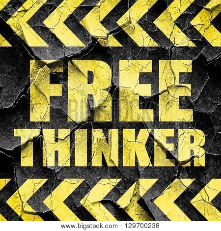 free thinker, black and yellow rough hazard stripes