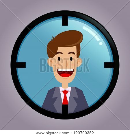 Vector stock of businessman inside target aiming scope