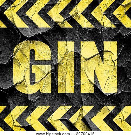 gin, black and yellow rough hazard stripes