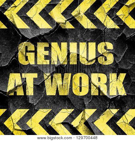 genius at work, black and yellow rough hazard stripes