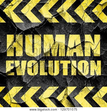 human evolution, black and yellow rough hazard stripes