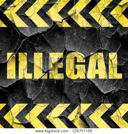 illegal, black and yellow rough hazard stripes