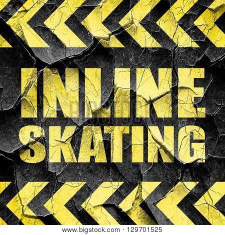 inline skating, black and yellow rough hazard stripes
