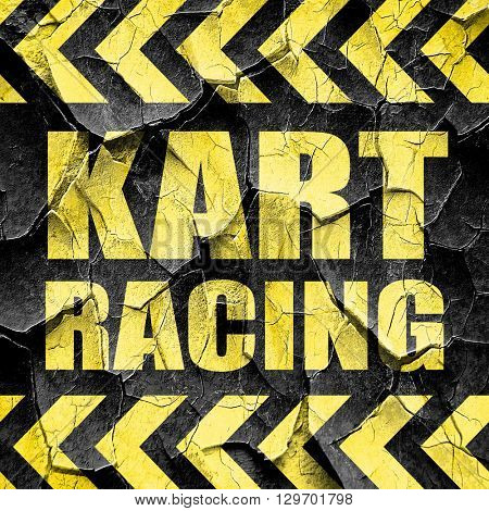 kart racing, black and yellow rough hazard stripes