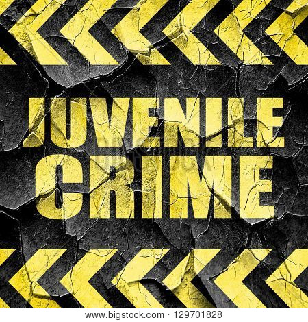 juvenile crime, black and yellow rough hazard stripes
