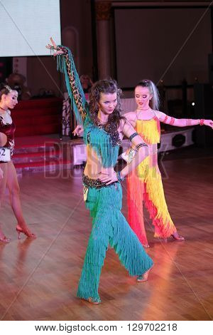 MOSCOW - MARCH 19: Unidentified teens age 12-18 compete at artistic dances at European Artistic Dace Championship, organized by World Dance Artistic Federation on March 19, 2016, in Moscow.