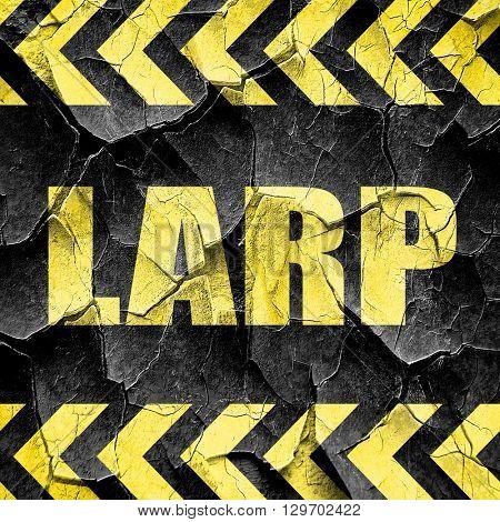 larp, black and yellow rough hazard stripes