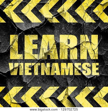 learn vietnamese, black and yellow rough hazard stripes