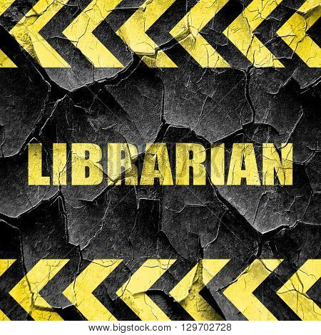 librarian, black and yellow rough hazard stripes