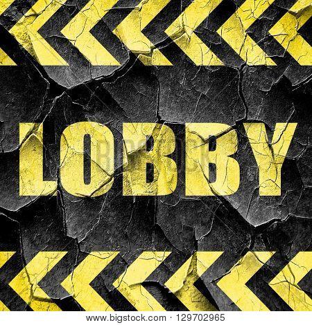 lobby, black and yellow rough hazard stripes