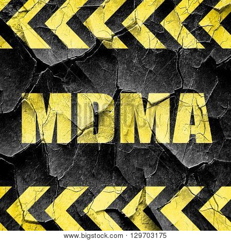 mdma, black and yellow rough hazard stripes