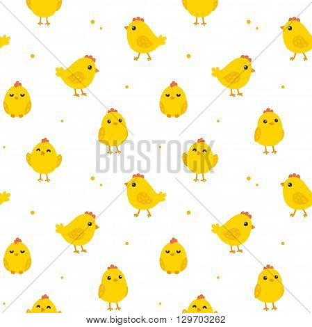 Cute cartoon chicken seamless pattern. Funny yellow chicks in different poses. Vector illustration.