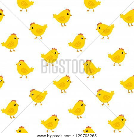 Cute cartoon chicken seamless pattern. Funny yellow chicks, adorable vector background.