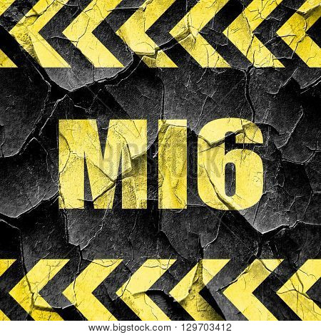 mi6 secret service, black and yellow rough hazard stripes