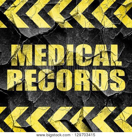 medical records, black and yellow rough hazard stripes