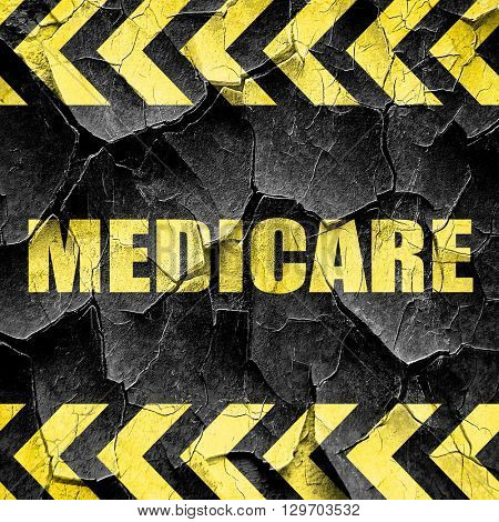 medicare, black and yellow rough hazard stripes