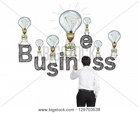 Business idea concept with sketching businessman and lightbulb air balloons with money sacks