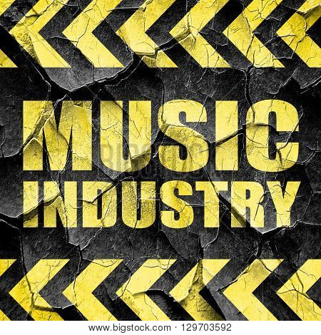 music industry, black and yellow rough hazard stripes