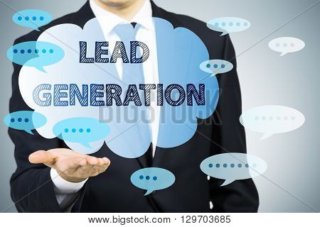 Lead generation concept with businessman holding abstract bubbles with writings