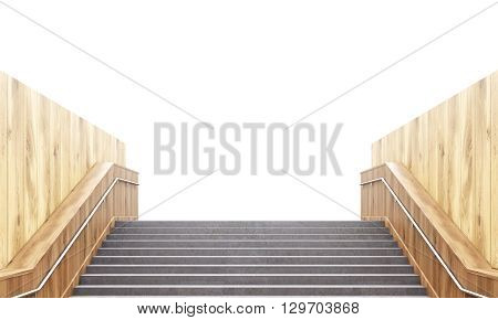 Concrete Staircase And Wooden Walls
