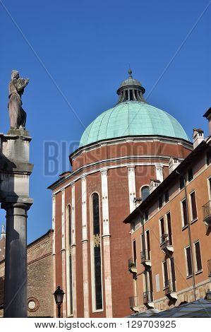 Vicenza Cathedral apse with dome designed by the famous architect Andrea Palladio in the 16th century