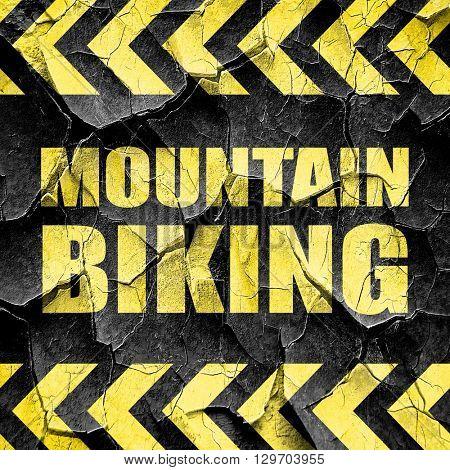 moutain biking, black and yellow rough hazard stripes