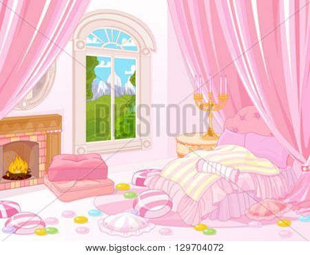 Illustration of fairytale bedroom