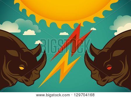 Artistic illustration with rhinoceros. Vector illustration.