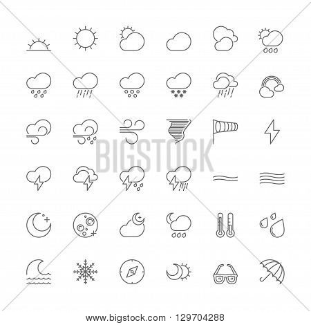 Thin line icons set. Flat symbols about the weather