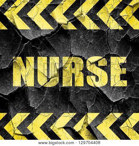 nurse, black and yellow rough hazard stripes