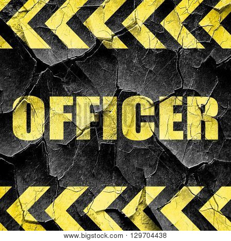 officer, black and yellow rough hazard stripes