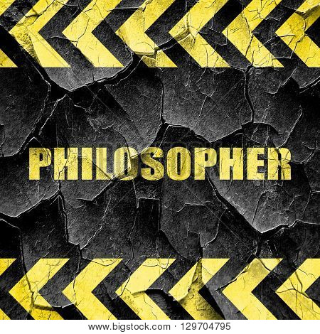philosopher, black and yellow rough hazard stripes