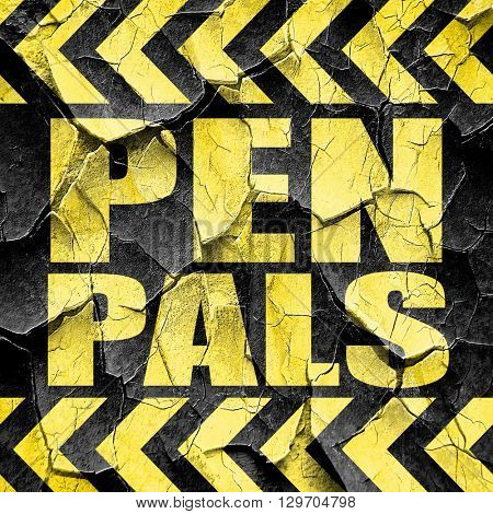 pen pals, black and yellow rough hazard stripes