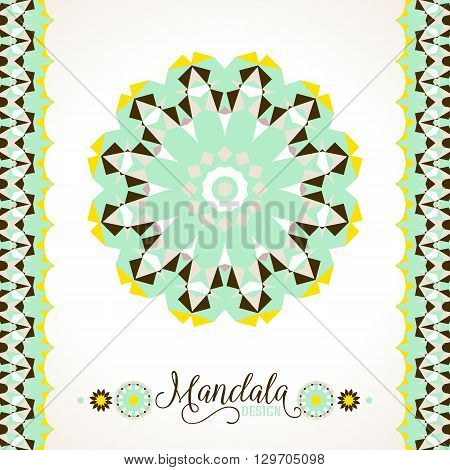Vector ethnic colorful bohemian round ornament in green colors with borders. Abstract flower or modern mandala with stars, triangles. Geometric background with Arabic, Indian, Moroccan, Aztec motifs.
