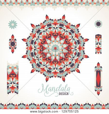 Vector ethnic colorful bohemian round ornament in red colors with borders. Abstract flower or modern mandala with stars, triangles. Geometric background with Arabic, Indian, Moroccan, Aztec motifs