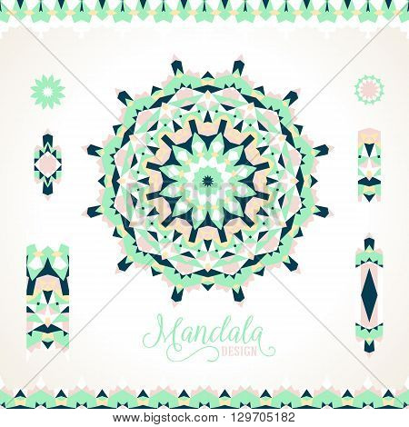 Vector ethnic colorful bohemian round ornament in mint colors with borders. Abstract flower or modern mandala with stars, triangles. Geometric background with Arabic, Indian, Moroccan, Aztec motif