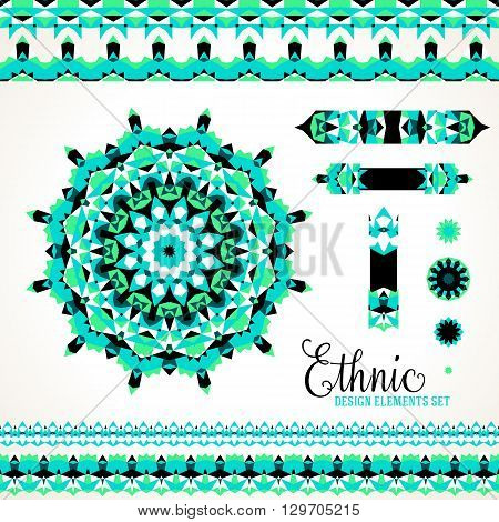 Vector ethnic colorful bohemian round ornament in bright colors with borders. Abstract flower or modern mandala with stars, triangles. Geometric background with Arabic, Indian, Moroccan, Aztec motif