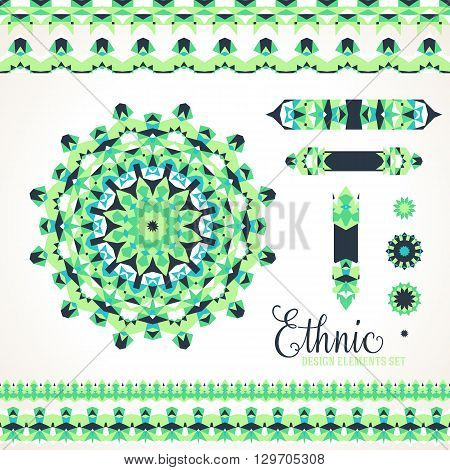 Vector ethnic colorful bohemian round ornament in green colors with borders. Abstract flower or modern mandala with stars, triangles. Geometric background with Arabic, Indian, Moroccan, Aztec motif