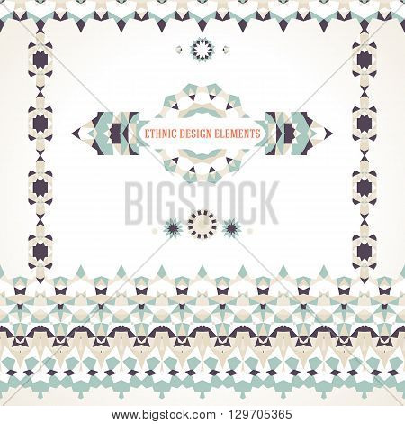 Vector illustration of ornament collection in cool colors stylized in Scandinavian, Nordic, Russian, Slavic motifs. Folk ethnic art elements, abstract flowers, round borders, lines, pattern brushes
