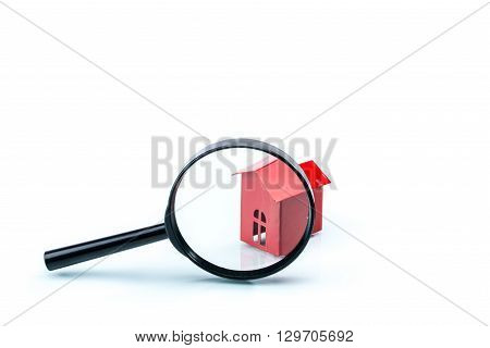House Scrutiny Concept, House Model With Magnifying